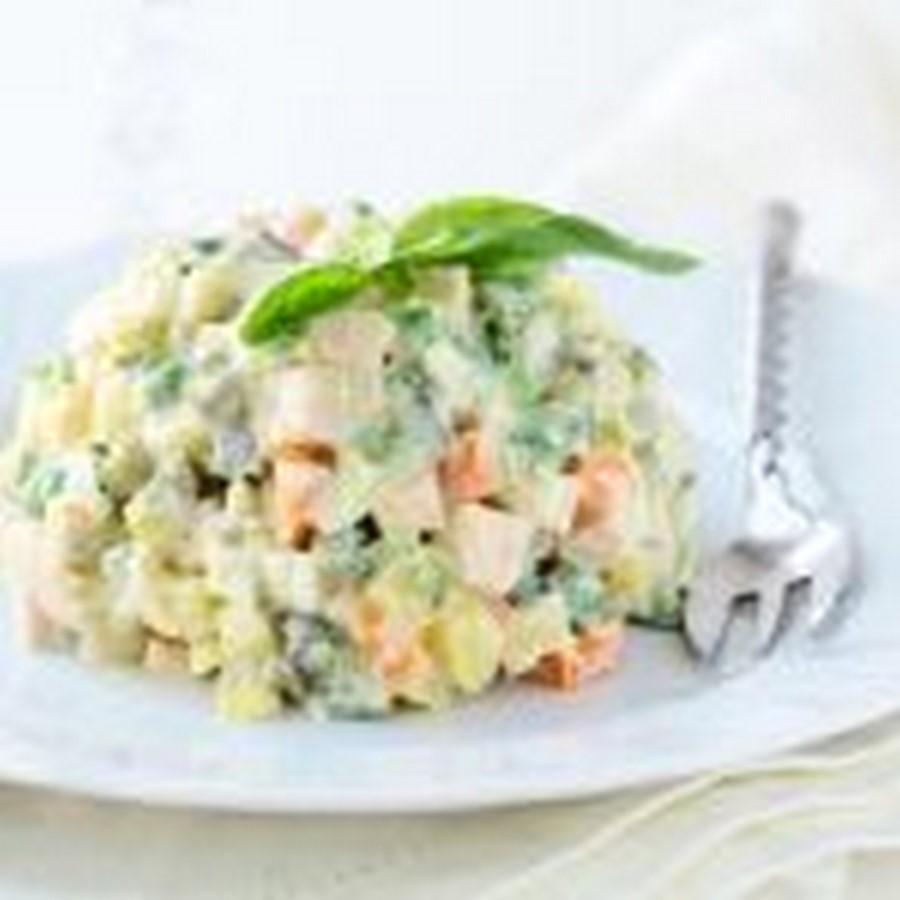 Салат оливье — рецепт с фото с колбасой, очень вкусный. Зимний салат — рецепт классический с колбасой и солеными огурцами