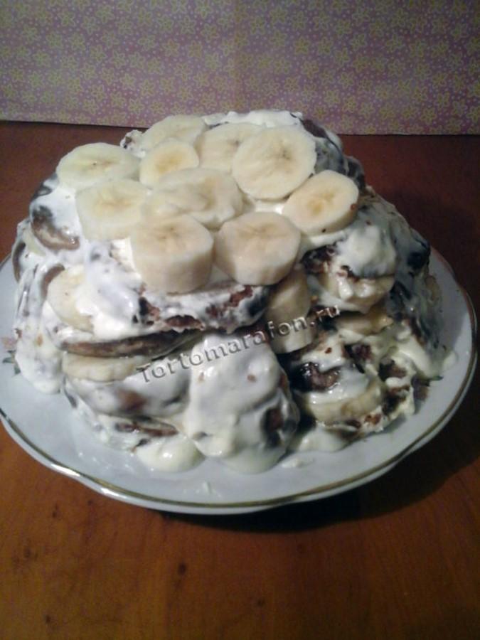 торт из пряников и бананов со сметаной