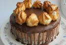 Вкусный торт из шоколадного суфле и профитролей на День рождения